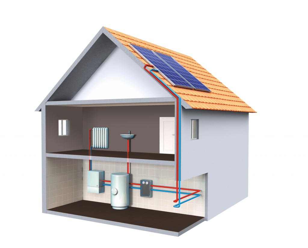 Esquema de instalación fotovoltaica en una casa