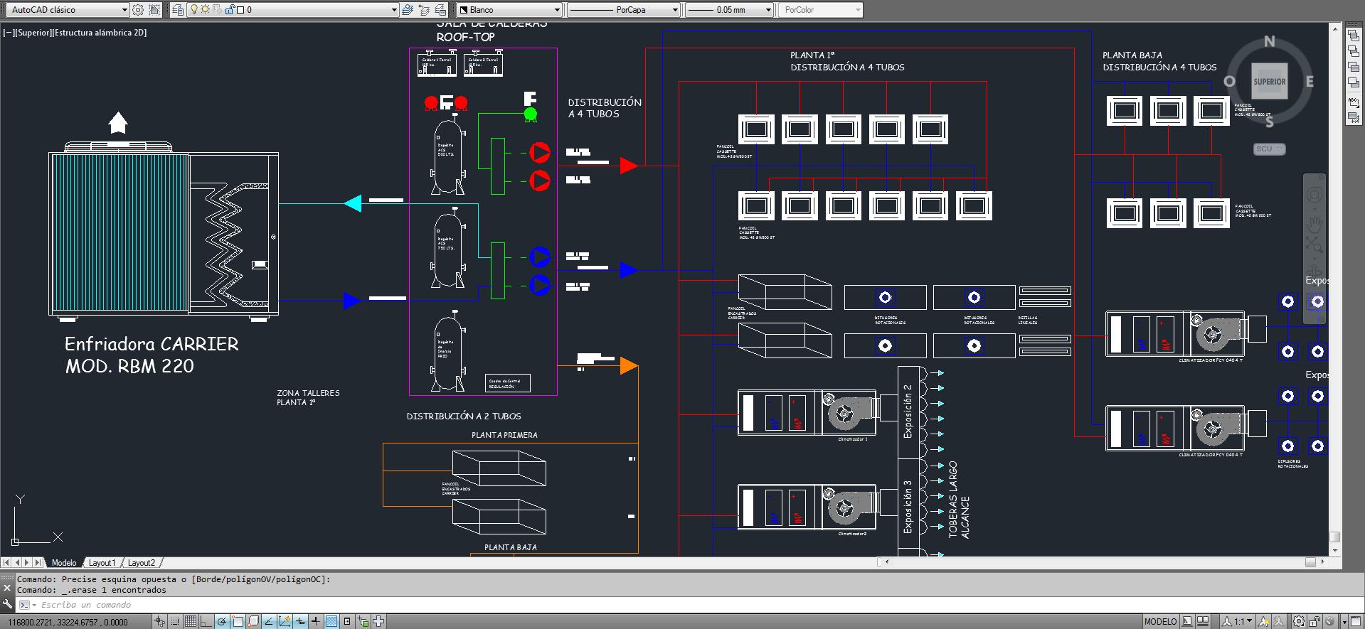 Diseño en Autocad de proyecto de climatización